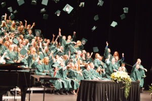 Pius X Grads tossing hats 2017