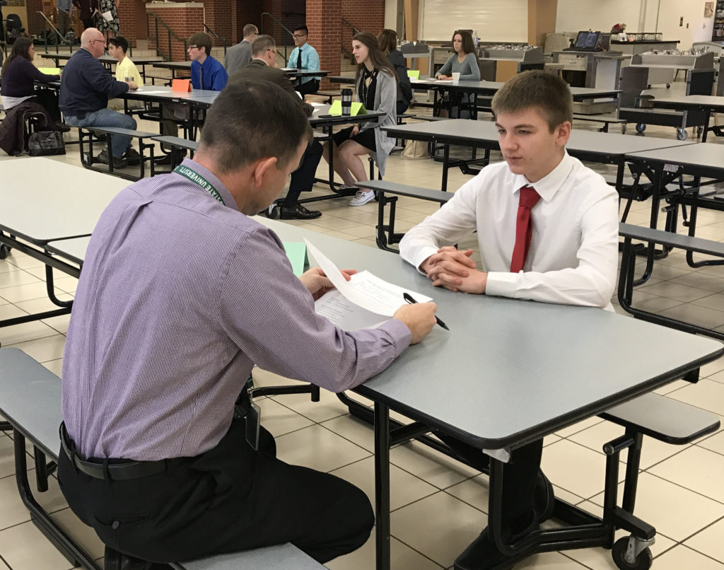 student interviews in career skills class