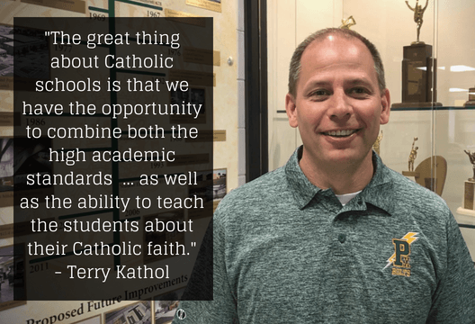 The great thing about Catholic schools is that we have the opportunity to combine both the high academic standards and the academic opportunities that we provide for the students here, as well as the ability to teach the students about their Catholic faith, develop a firm faith foundation in what they are going to be doing the rest of their lives.