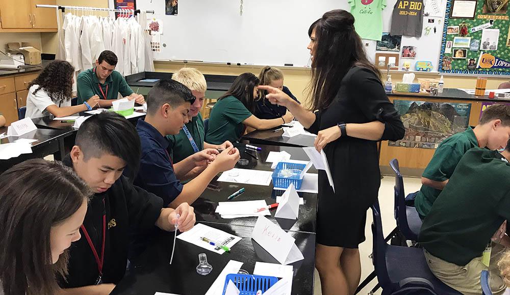 science classroom catholic school